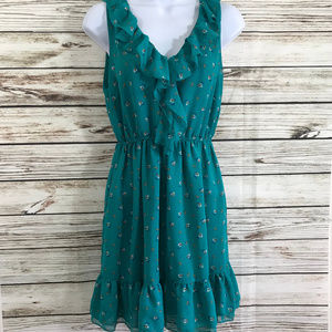 Forever 21 Teal Floral Print Ruffle Mini Dress